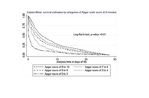"""Existe una fuerte asociación entre la escala de APGAR y la sobrevida de neonatos catalogados como """"en riesgo"""""""