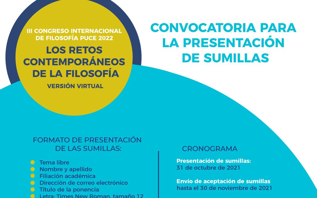 Convocatoria para la presentación de sumillas para el Congreso Internacional de Filosofía