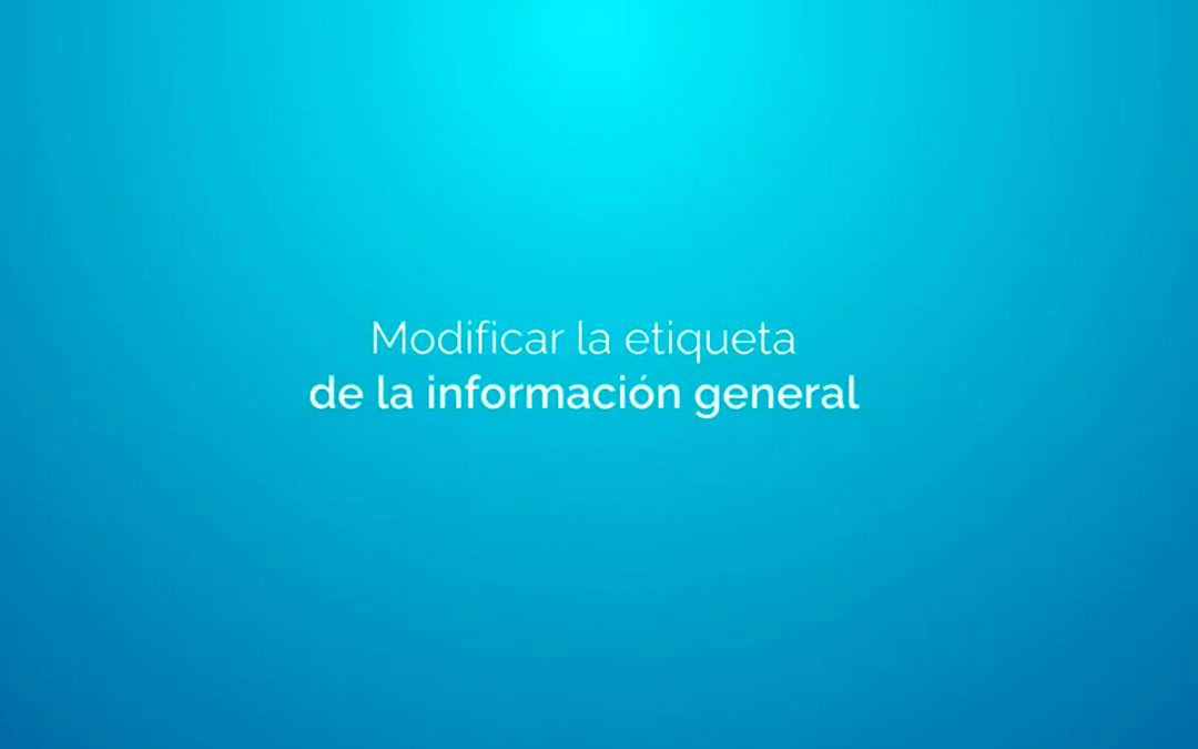 Modificar la etiqueta de la información general RDR